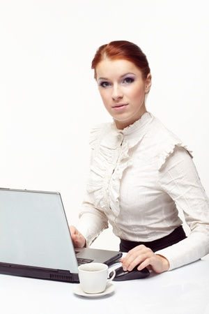 Business woman working on her laptop. Stock Photo - 8738905