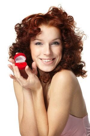 Beautiful  woman with red gift box with jewellery Stock Photo - 8843786