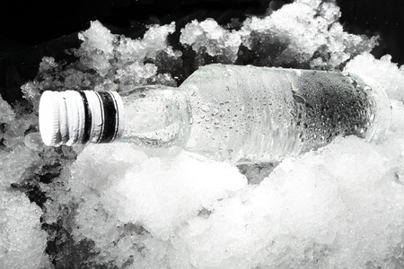 Close up view of the bottle in ice photo