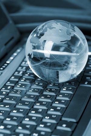 leadership key: Globe and keyboard