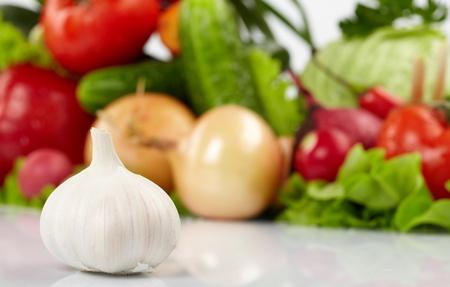 fresh vegetables on the white background photo
