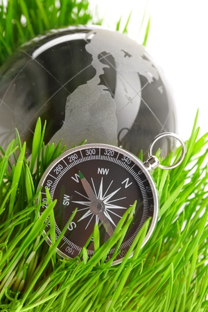 compass in green grass  photo