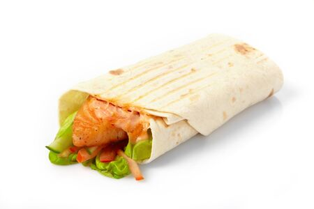 tortilla with fish and vegetables  Stock Photo