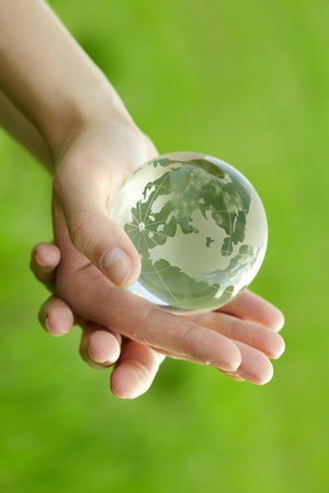 Globe in the hand photo