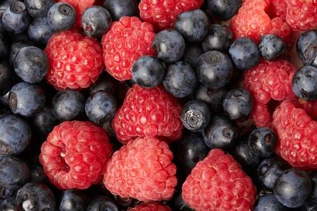fresh blueberries and raspberries photo