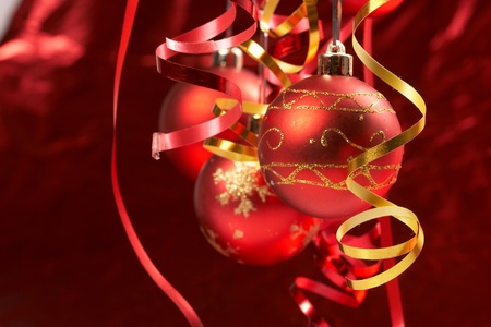 bauble: Red Christmas balls