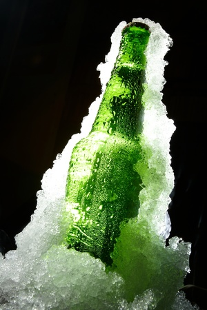 green bottle: Close up view of the bottle in ice