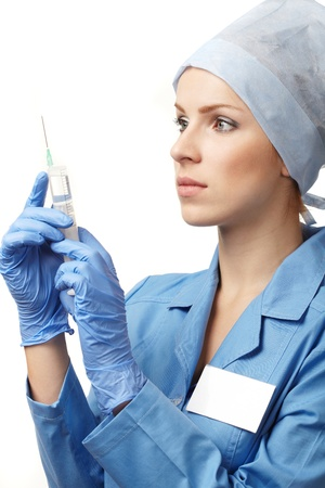 infirmi�re seringue:  Docteur en m�decine avec une seringue