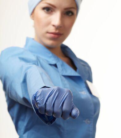medical doctor in blue gloves photo