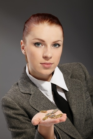 portrait of pretty businesswoman with money photo