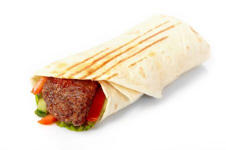 wrap:  tortilla with beef and vegetables