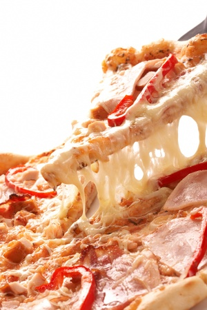 melted cheese: Pizza with pepper and ham Stock Photo