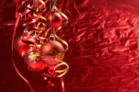 Red Christmas balls photo