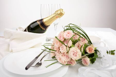 Flowers and a bottle of wine background photo