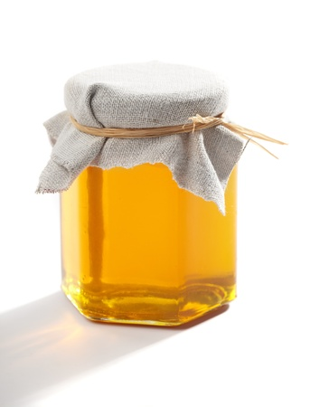 pot of gold: Jar of honey Stock Photo