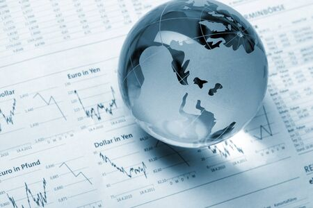 Globe on business documents  photo