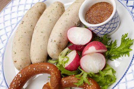 sausages with pretzel Stock Photo - 13304392