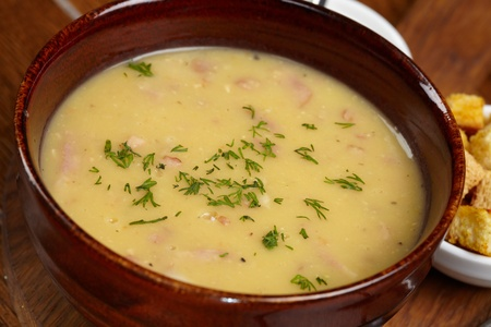 Chicken creamy soup with croutons  Archivio Fotografico