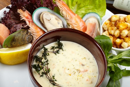 Cream soup with salmon Stock Photo - 13489516