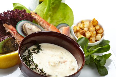 Cream soup with salmon  photo