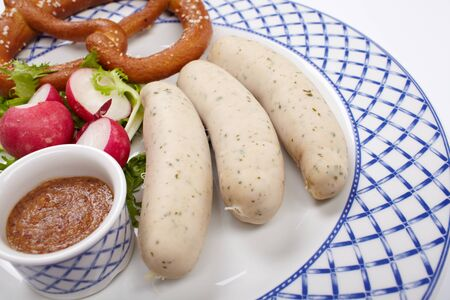 sausages with pretzel Stock Photo - 13924789