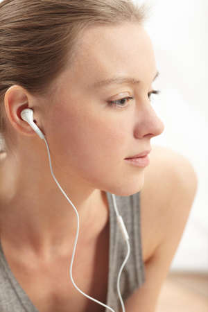 woman enjoying some music photo