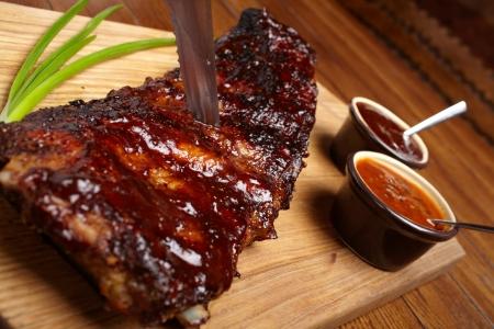 rib: deliciosas costillas BBQ Foto de archivo