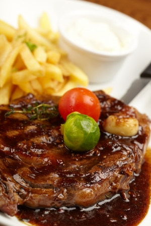 frites: steak with French Fries Stock Photo