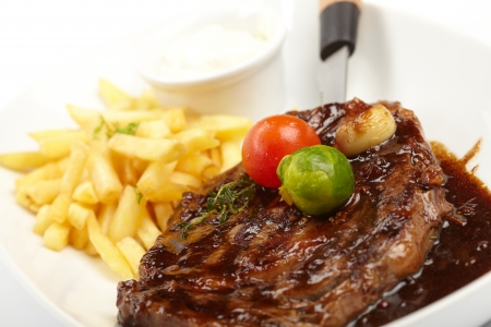 pomme: steak with French Fries Stock Photo