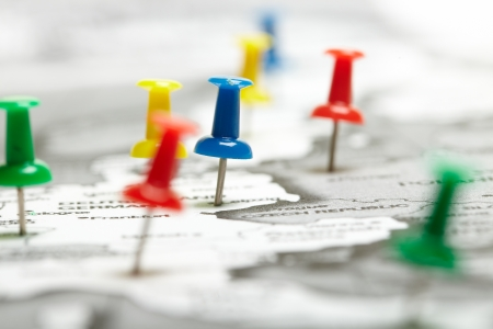 kaart route gemarkeerd