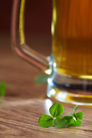 three leafed: clover and beer  Stock Photo