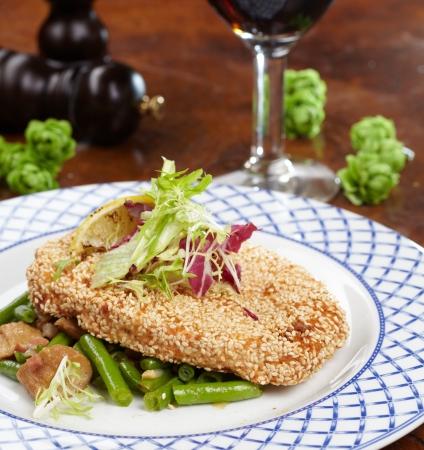 breaded pork chop: Schnitzel with salad Stock Photo