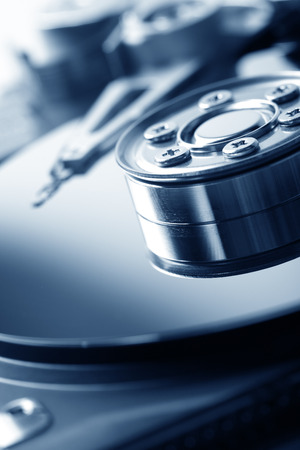 computer hardware: opened hard disk drive Stock Photo