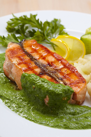 salmon steak with cauliflower photo