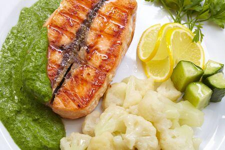 salmon steak with cauliflower photo