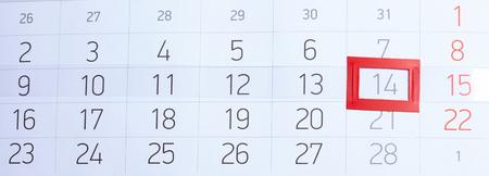 バレンタインの日のカレンダー