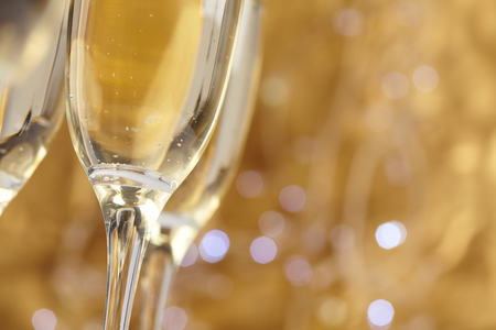 champagne flutes: Champagne on gold background