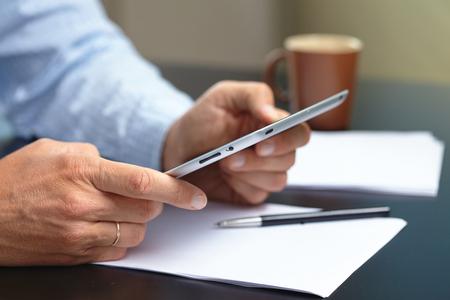 input device: businessmen with digital tablet