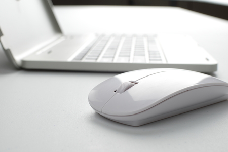 mouse: laptop with mouse Stock Photo