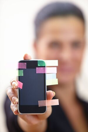 transmitting device: women with mobile phone