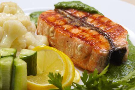 salmon steak: salmon steak with cauliflower
