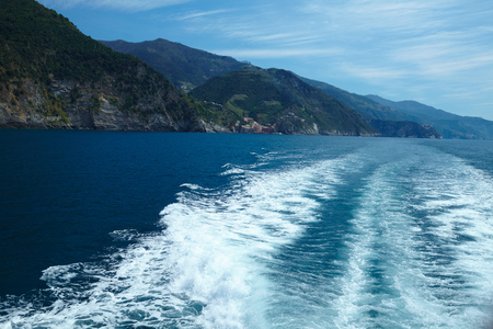 ''cinque terre'': Mediterranean sea and coast of Italians Cinque Terre National Park Stock Photo
