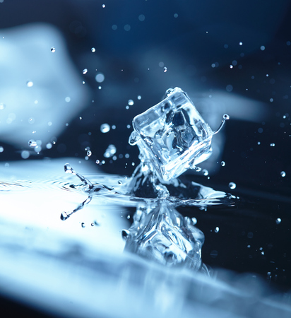 ice water: ice cubes with water splash