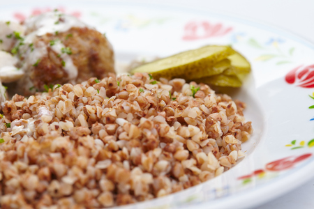 buckwheat with cutlets Stock Photo