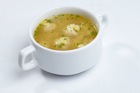 cooked pepper ball: soup with meatballs