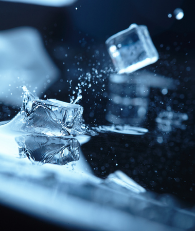 refrigerate: ice cubes with water splash