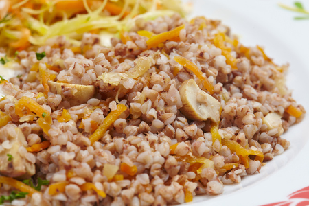 buckwheat with cutlet Stock Photo