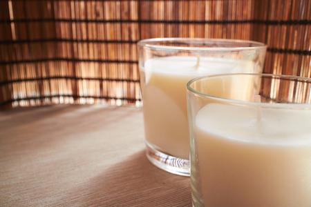 candlelit: white candles Stock Photo