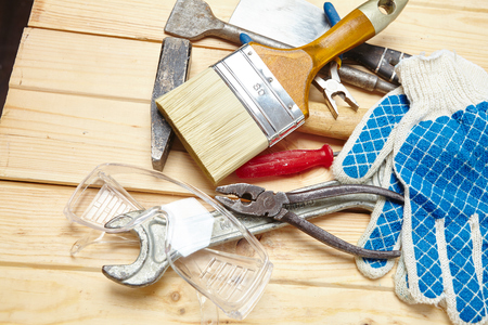 set of tools on the wood background
