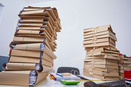 stacks of paper files Stock Photo